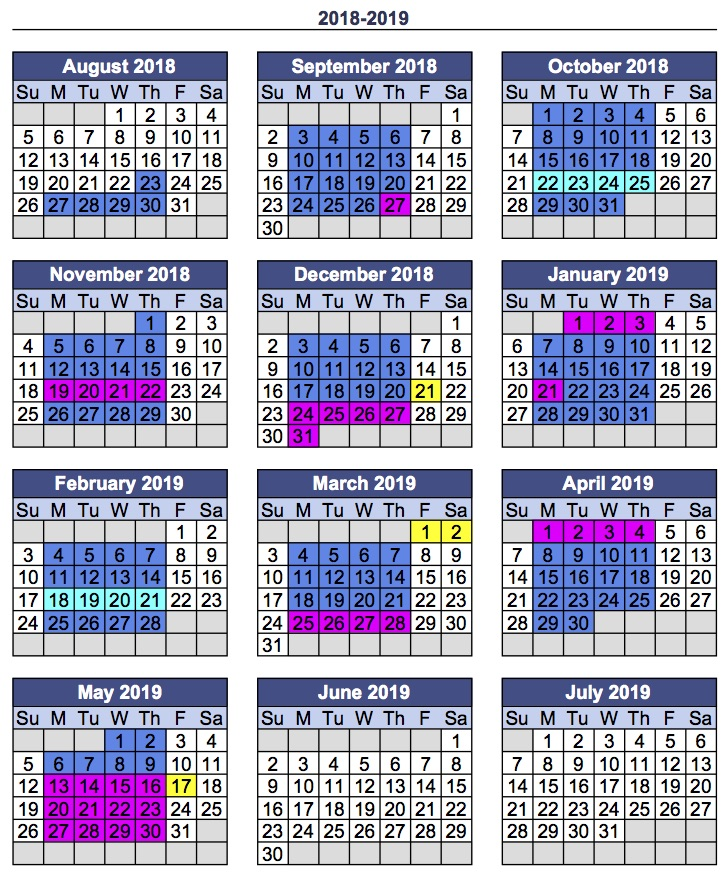 Jpeg of 2018:19 Calendar